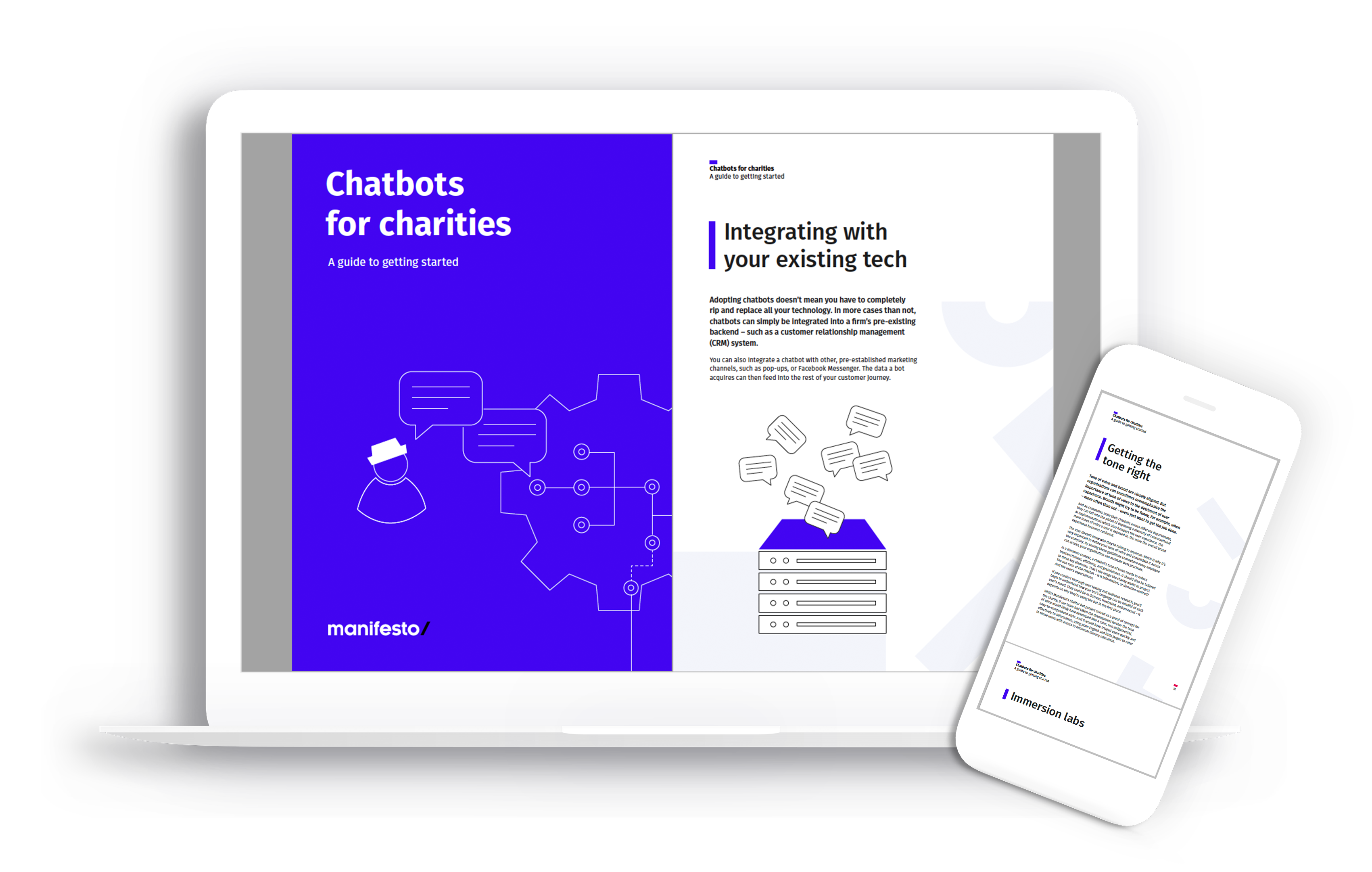 Chatbots for charities on desktop and mobile